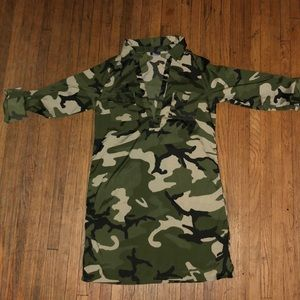 Women's army fatigue collared dress